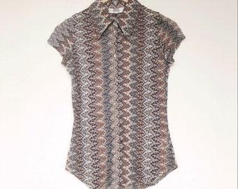 Vintage 90s Crochet Lace Mesh Shirt Blouse Top 8