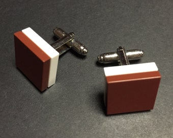 Lego cuff links - Brown on White