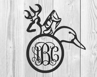 Deer Fish Duck Monogram Decal Design, Deer, Fish, Duck, Hunting, Fishing, SVG File, Hunting Monogram, Fishing Monogram, Cricut Design