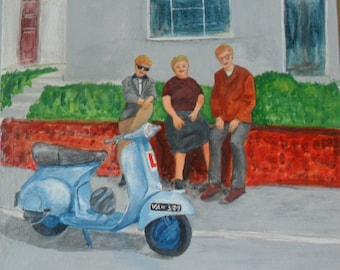 Acrylic Painting: Vespa Scooter Theme