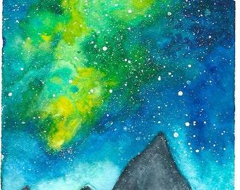 night sky watercolor painting, mountains, space, galaxy, nebula, stars, self made, small, dawn
