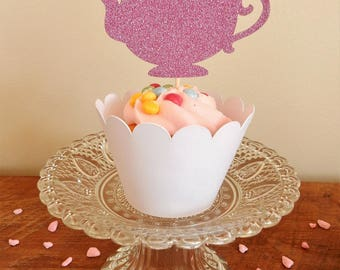 12 x Pink Teapot Glitter Cupcake Toppers - Double sided. Birthday, Wedding, Party Decorations, Handcrafted