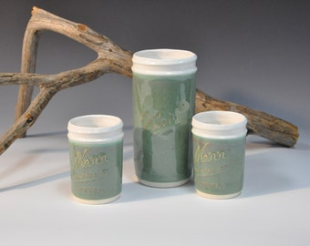 Porcelain Mason Jars (Seafoam Green)