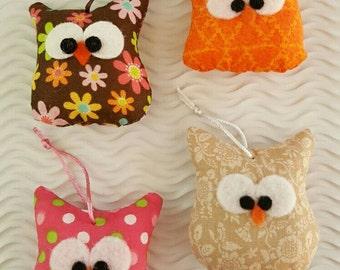 Colorful Handmade Fabric Owl Ornament