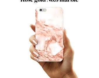 White and rose gold marble phone case for iPhone and Samsung Galaxy devices.