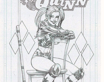 Harley Quinn original comic art by Wellington Diaz