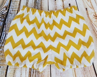 Yellow and White Chevron Baby Bloomer Diaper Cover