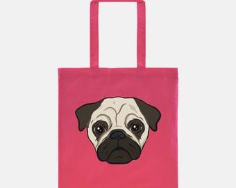 Pug Tote Bag | Pug Gift | Cute Dog Tote | Dog Bag | Dog Lover Gift