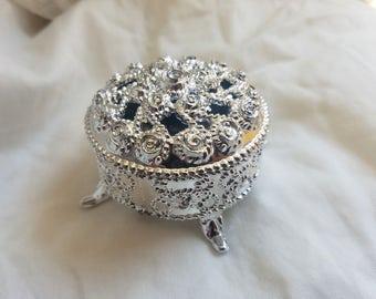 Plastic Silver Jewelry Box Favors, Joyero plastico para Recuerdos, Jewelry Box, Wedding Favors, Recuerdos de Boda/Quinceanera/Communion