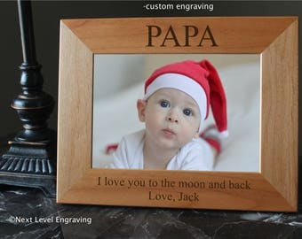 Papa Gifts First Fathers Day Gift from Baby Grandfather Gift, Gifts for Papa, Engraved Wood Picture Frames, Personalized Photo Frame
