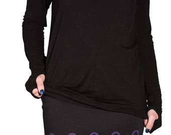 Ankh skirt black purple short mini mini skirt skirt stretch goth icon