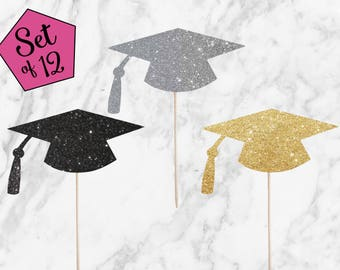 Graduation Cupcake Toppers - Set of 12 - Congrats Graduate Cap 2017 Grad Toppers for Graduation Party, High School, College - Glitter