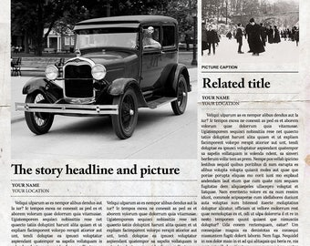 Vintage 1920's Newspaper Template - Fully Editable - Photoshop