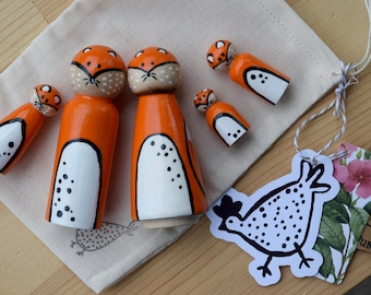Fox Family Peg Doll Set, Woodland Animals, Wooden Toddler Toy, Heirloom Toy, Fox Toy, Woodland Animal Toys, Pretend Play, Anniversary Gift