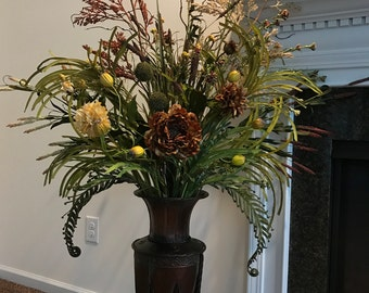 Grand Silk Floral Vase and Flower Arrangement