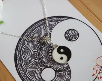 Yin yang necklace   silver necklace, ying yan symbol, yoga necklace, minimalist, jewelry card, necklace card, bohemian, boho, ying yang, her