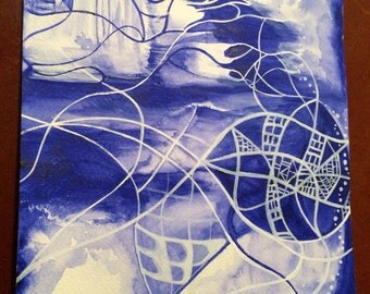 Original Watercolour Painting Vivid Blue Design