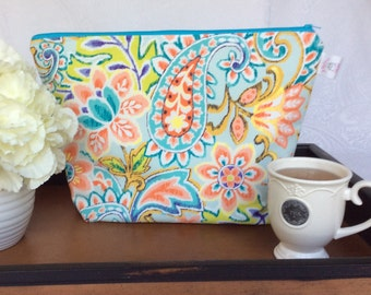 Blue and Orange Floral Paisley Oversized Project Bag