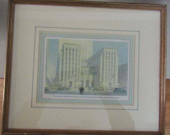 Rockefeller Center Framed Rendering and Postcard