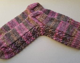Pink brown socks, warm socks, wool socks, nordic socks, speckled socks, women socks, pink socks, brown socks, winter socks, knit socks