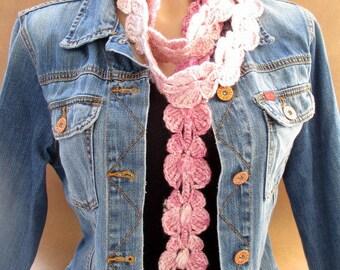Pink scarf, Lariat scarf, Crochet lariat scarf, Butterfly scarf, Crochet butterfly, Pink lariat scarf, Long scarf, Crochet skinny scarf