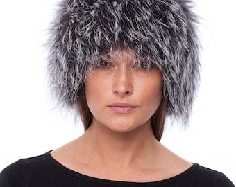 Handmade blue silver fox fur headband