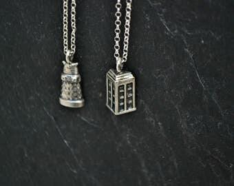 Doctor Who Tardis Dalek Necklace, Dr. Who Tardis Dalek Sci Fi Geek Jewelry, 925 sterling silver, Police Box Robot