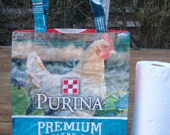 Recycled Feed Bag Tote, reusable tote bag, grocery tote, recycled shopping bag, reusable grocery bag, recycled tote bag,  Purina hen aqua