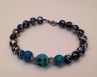 Blue and Black Skull Bracelet