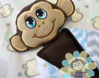 Boy Monkey Sensory Security Blanket Lovey/Small Size