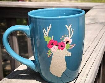 Floral Deer Silhouette Hand Painted Mug