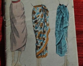 Vintage Vogue sewing pattern 7371 ca. 1951 rare collectible W 24 H 33 Vintage craft  Sarong skirt