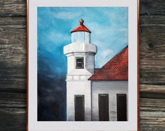 Mukilteo Washington Lighthouse Painting Print Digital Download, Lighthouse Acrylic Painting, Lighthouse Print, Beach Decor, Coastal Decor