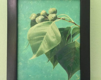 Leaf Home Decor Thick Oil Painting on Canvas with Matting and Frame