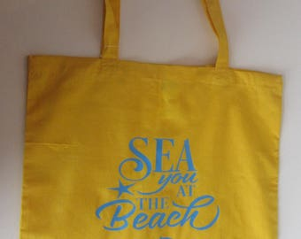Sea You At The Beach, Yellow Cotton Tote Bag