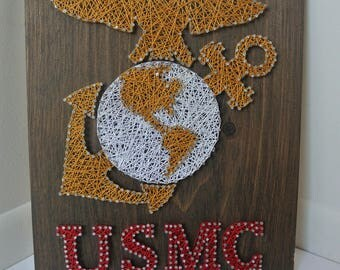 US Marines String Art Military Decor