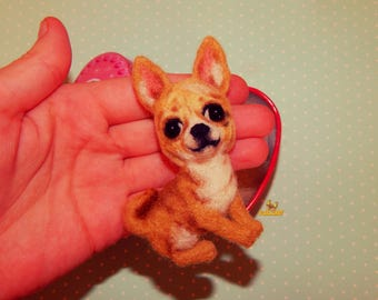 Needle felted Brooch Chihuahua chihuahua jewelry Pet Portrait needle felted animal Felted Miniature Animal Sculpture Portrait Pet portrait
