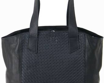 Women's Handbags Black Nappa Leather & Braided leather