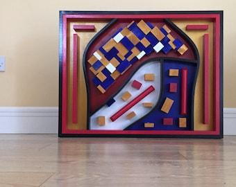 Colourful Wood Wall Art Piece, Corporate art , Office or Reception art, Wall hanging, 3D art, Wall sculpture
