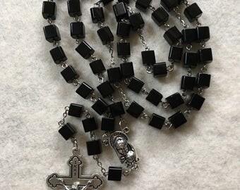 Black Cube Glass Rosary