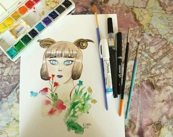 Horned Flower Girl