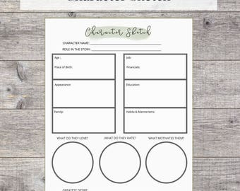Creative Writing Printable - Character Sketch Worksheet, US Letter, Instant Download, PDF