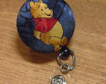Badge Reel upcycled from vintage Pooh tie