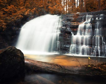 Blue Ridge, Georgia - Waterfall. Digital Print, Landscape Photography, Hiking, Cabin Decor