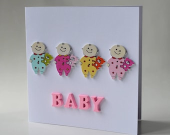 Baby wooden button greeting card with envelope 5x5