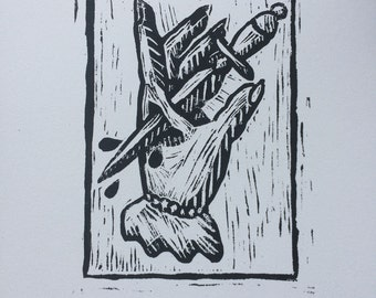 A4 Dagger Hand Tattoo Style Lino Print