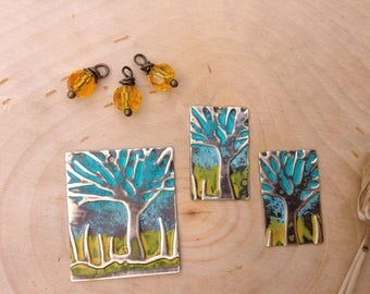 Embossed jewelry components- collection #1 trees & yellow bead dangles
