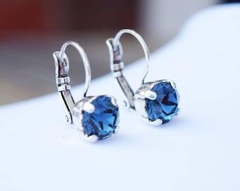 8mm Swarovski Crystal Leverback Earrings - Montana Blue - FREE SHIPPING