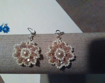 Lacy Look Flower Beaded Earrings Pale Pink Bi-Cones and Cream Seed Beads With Pearly Center