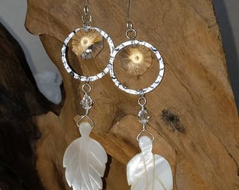 Vintage crystal and shell leaf earrings